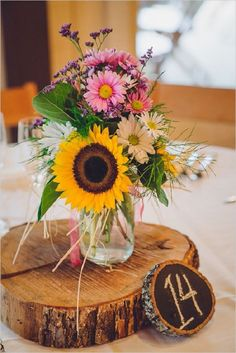 Gallery: rustic sunflowers and wood wedding centerpiece - Deer Pearl Flowers