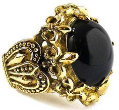 gold crown with fleur de lis and jewels | Big Black Onyx Crown Fleur de Lis Gold Brass Ring Sz 9 Goth Gothic Men ...