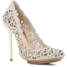 BCBGMAXAZRIA Peacock High-Heel Pump ($295) ❤ love these but I would probably ruin them on the first wear..