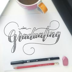 Lettering - I'm Graduating Hand Lettering Fonts, Creative Lettering, Types Of Lettering, Lettering Styles, Brush Lettering, Lettering Design, Font Styles, How To Write Calligraphy, Calligraphy Letters