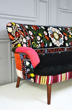 Patchwork sofa with suzani fabrics - 1. $2,500.00, via Etsy.