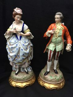antique german porcelain pair of large BAVARIA figurines High 12,5   Marked