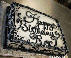 Black and white birthday cake White Birthday Cakes, Birthday Sheet Cakes, Birthday Cake With Flowers, Happy Birthday Cakes, 50 Birthday, Birthday Ideas, Sheet Cake Designs, Cool Cake Designs, Fancy Cakes