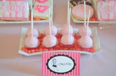 Eloise at the Plaza Party - Pink chocolate covered Cake Pops/Custom dessert tent cards