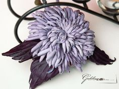 LEATHER VIOLET FLOWER pin brooch hair hat clip by Galelina, $62.00