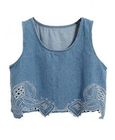 Cropped Denim Top with Embroidery - T-shirts & Tanks - Clothing