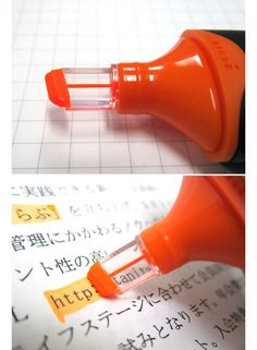 Uni Promark View Highlighter has a clear plastic tip so you can better see what you're highlighting