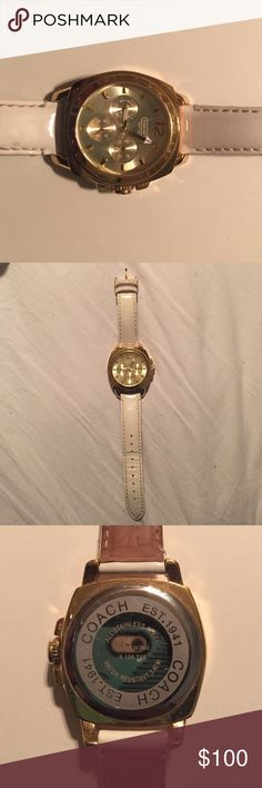 AUTHENTIC Coach Watch Gold and white Coach watch, genuine leather, good used condition, works well and is a great accessory - can be matched with almost anything! Ask any questions! Coach Jewelry Bracelets