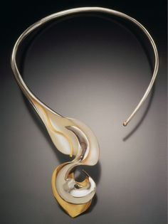 "Necklace | Dayne Sislen. ""Calyx"".  Sterling silver, 22k gold, bi-metal"