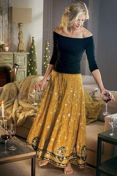 Samaira Embellished Skirt from Soft Surroundings Boho Fashion Over 40, Look Fashion, Fashion Outfits, Fashion Fashion, Fashion Tips, Long Skirts For Women, Long Maxi Skirts, Fall Fashion Trends, Autumn Fashion