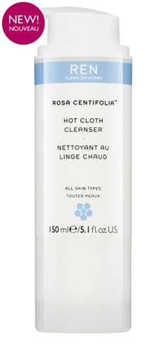 REN Rosa Centifolia™ Hot Cloth Cleanser is a rich two-phase cleanser that purifies, decongests, gently exfoliates and removes all make-up. It leaves skin refreshed, radiant, smoothed and replenished without dryness or tightness.