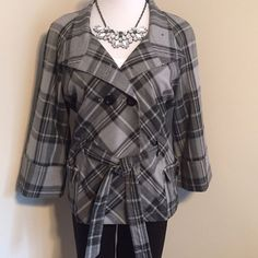 Black And Gray Cape Style Jacket
