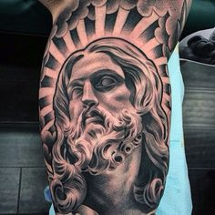 a look at some black and grey tattoos, rose tattoo, religious tattoos, greek statue tattoos, sleeve tattoos and skull tattoos. Jesus Tattoo Design, Tattoo Design Drawings, Tattoo Designs Men, Tattoo Sleeve Designs, Skull Tattoos, Sleeve Tattoos, Jesus Tattoo Sleeve, Lil B Tattoo, Religous Tattoo