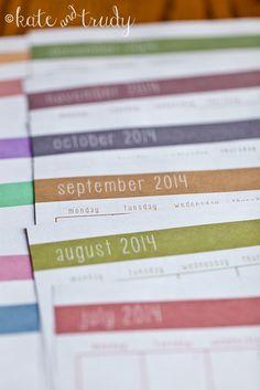 Free 2014 Monthly Calendar Printables