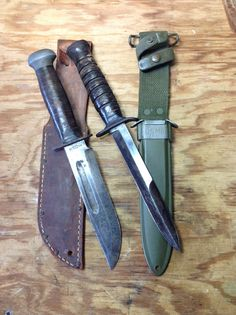 WWII combat knives.  RH-PAL 36 (left) and M3 trench fighting knife (right).  M8 scabbard.