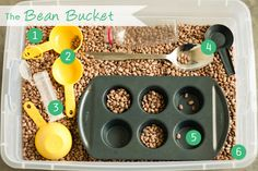Bean Bucket: Aidan used to play like this with cornmeal at PP, but it's messy (dusty). He played in beans at the Wilmington Kid's Museum & I thought it was a great alternative. Been pricing plastic bins at Walmart & seeing if Costco  has dried beans.