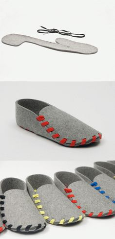 Home made felt slippers.                               Gloucestershire Resource Centre http://www.grcltd.org/scrapstore/