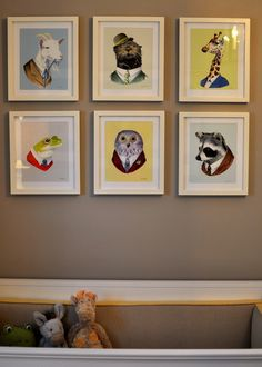relocate our 6 square white frames and fill with high quality photos from a children's book. this is the perfect nursery artwork.