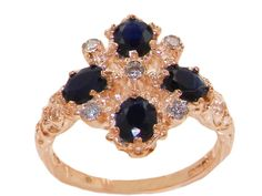 14k Rose Gold Cubic Zirconia and Natural Sapphire Womens Cluster Ring - Sizes 4 to 12 Available
