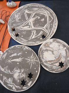 """Jogo de Mandalas """"Estrelas Viajantes"""" cerâmica (nerikomi). www.artbydarlene.elo7.com.br"""