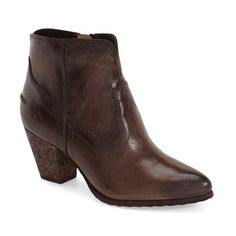 "Frye 'Renee' Bootie, 2 1/2"" heel ($298) ❤ liked on Polyvore featuring shoes, boots, ankle booties, ankle boots, slate leather, leather boots, mid heel ankle boots, pointed toe ankle boots and pointy toe booties"