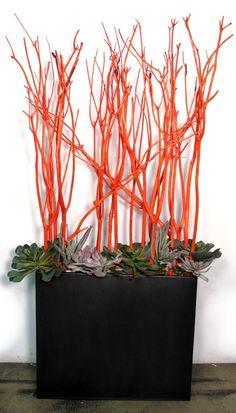 "FL1432   Orange Mitsumata, Mixed Succulents and Orange Wool Cord Wrapped White Rocks in Black Zinc Rectangular Container  66""H x 36""W x 14""D   $1995 Retail  LDF Silk"