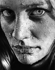 drawings portrait realistic pencil Blob on Face by Olga Larionova