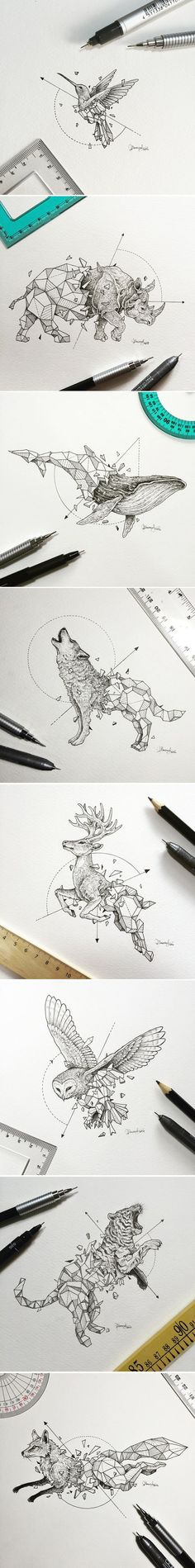 Manila-based illustrator Kerby Rosanes known as Sketchy Stories has created a new series of sketches combing animals with geometric forms. These geometric animals are amazing! Cool Drawings, Drawing Sketches, Fantasy Drawings, Drawing Ideas, Detailed Drawings, Tattoo Sketches, Drawing Tips, Sketching, Tattoo Motive