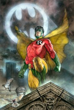 Earth 2 Robin, in Tom Fleming's Painted art Comic Art Gallery Room Im Batman, Batman Art, Superman, Batman Robin, Robin Superhero, Comic Book Heroes, Comic Books Art, Comic Art, Book Art