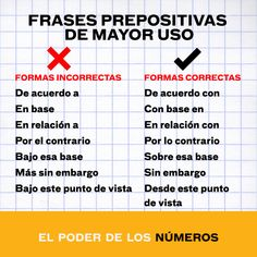 Frases prepositivas de mayor uso (formas incorrectas vs. correctas)