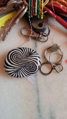 Roundabout Illusion Fridge Magnet, Original Pebble Art, Handmade Jewelry Boyfriend Girlfriend Gift Painted Rocks Personalised Stone Key Ring