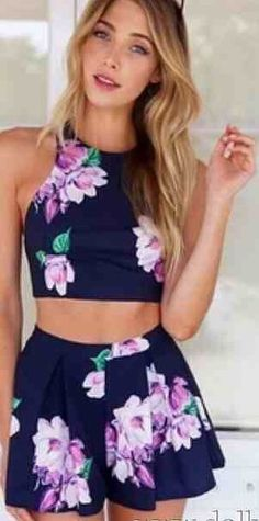 Fashion blue flower print 2piec playsuit · fe clothing · online store powered by storenvy