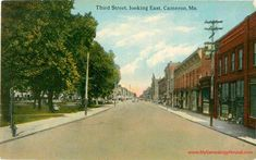 Cameron, Missouri, Third Street Looking East, Clinton County, MO, vintage postcard, historic photo