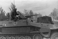 A 37mm Flak gun mounted on a German Sdkfz 251 armored vehicle