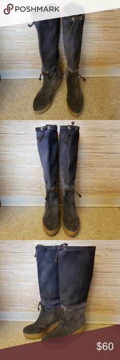 Rockport Adiprene by Adidas Suede Wedge Boots Gorgeous excellent condition raisin dark taupe brown suede boots from Rockport; Adiprene by Adidas.  Suede is soft and like new; soles are a rubber wedge heel.  Cinch ties at ankle and top of boot.  Size 6M Rockport Shoes Heeled Boots