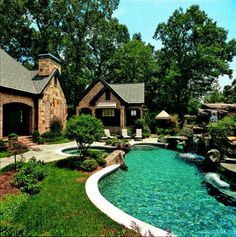 A lazy river pool around the house? Oh why not!  (this home is in a suburb of Atlanta - Marietta). Lazy River Pool, Beautiful Pools, Dream Pools, Casa Linda, Pool Landscaping, Backyard Pools, Outdoor Pool, Indoor Outdoor, Outdoor Living