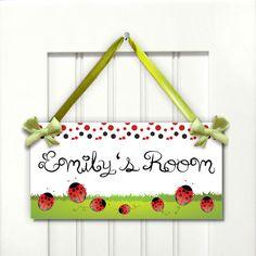 red ladybugs girls bedroom door sign babies nursery by kasefazem, $16.99