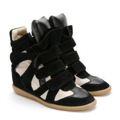 Discount Isabel Marant Bekket Hot Sale Black White High top Wedge Sneakers sale so cool and fashion,only sale:$260.80