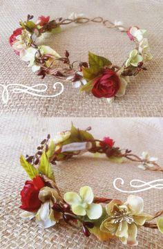 red floral crown, bridal flower crown, rustic wedding crown, rustic headpiece, fall wedding hair, woodland headpiece, fairy crown, berries
