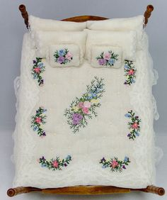 Silk Ribbon Embroidered Dressed Bed