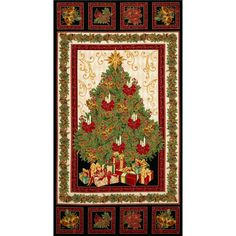 Timeless Treasures Comfort & Joy Metallic Christmas Tree Panel Black from @fabricdotcom  Designed for Timeless Treasures, this cotton print panel measures about 24'' x 44''. Colors include gold, red, green and brown with gold metallic accents throughout. Use for quilting and craft projects.