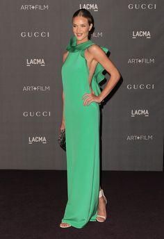 Rosie Huntington-Whiteley,  vestido verde menta primavera 2013 de Gucci