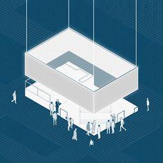 #architecture #conceptspace #exhibitionstand #axonometric #aplusnoima Architecture Graphics, Collage, Concept, Collage Illustration, Collages