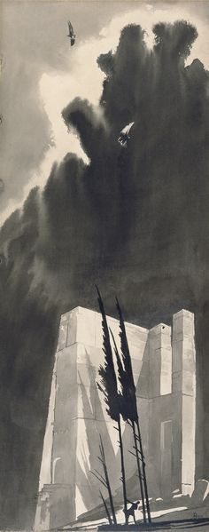 Klemens Brosch (Austrian, The landscape with two eagles, 1922 Ink wash, x 35 cm Ink Wash, Cinder, Eagles, Fields, Landscape, Artist, Artwork, Austria, Painting Art