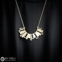 Circle necklace geometric necklace half circle necklace by ByYaeli