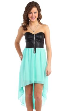 Deb Shops #mint high low day #dress with chiffon skirt and #leather bodice