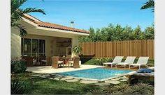 Resultado de imagem para casa bonita com quintal e jardim e piscina