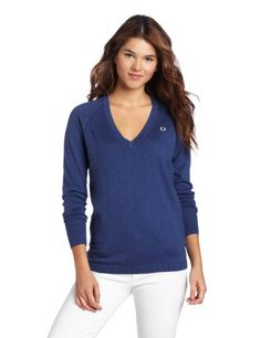 Fred Perry Women's V-Neck Sweater, Kit Blue, « Impulse Clothes