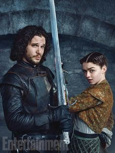 Kit Harington as Jon Snow and Maisie Williams as Arya Stark in the Game of Thrones TV series