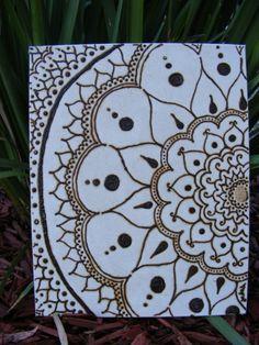 Henna Mandala design on canvas by CutthroatHennaArt on Etsy, $30.00